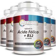 Ácido Fólico + B12, cápsulas de 500mg - 5 Potes