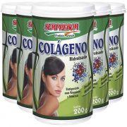 Colágeno Hidrolisado em Pó, Natural, com Vitaminas e Minerais - 200g - 05 Potes
