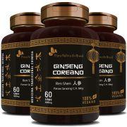 Ginseng Coreano (Ren Shen) 100% Vegano - 500mg - 3 Potes