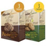 Marita Cookies Premium - 40g - Cacau (3 Caixas) + Pera (3 Caixas)