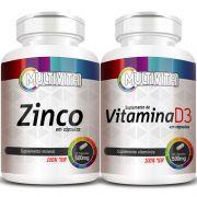 Zinco - 60 cáps. 500mg + Vitamina D3 - 60 cáps. 500mg (Aumentar Imunidade)