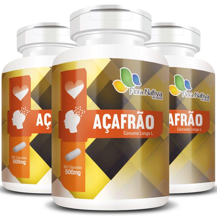 Açafrão Cúrcuma Original - 500mg - 3 Potes (180 cápsulas)