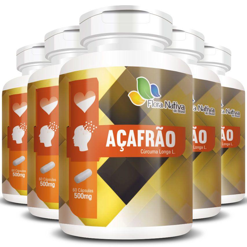 Açafrão Cúrcuma Original - 500mg - 5 Potes (300 cápsulas)