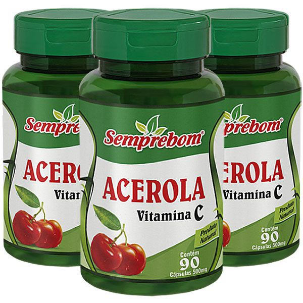 Acerola (Vitamina C) Original 500mg - 3 Potes (270 cápsulas)