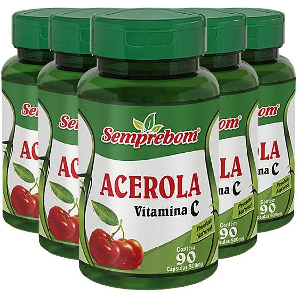 Acerola (Vitamina C) 500mg - Original - 5 Potes  - Natural Show - Produtos Naturais, Suplementos e Cosméticos