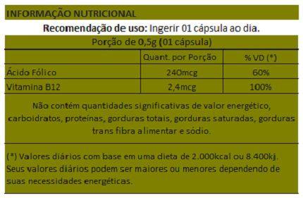 Ácido Fólico + B12 - 60 cápsulas de 500mg  - Natural Show - Produtos Naturais, Suplementos e Cosméticos