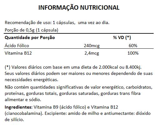 Ácido Fólico + B12 - 500mg - 3 Potes (180 cáps)   - Natural Show - Produtos Naturais, Suplementos e Cosméticos
