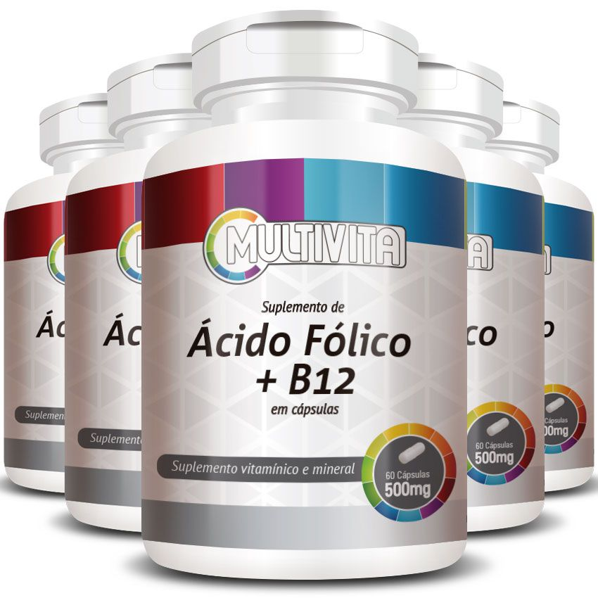 Ácido Fólico + B12 - 500mg - 5 Potes (300 cáps)   - Natural Show - Produtos Naturais, Suplementos e Cosméticos