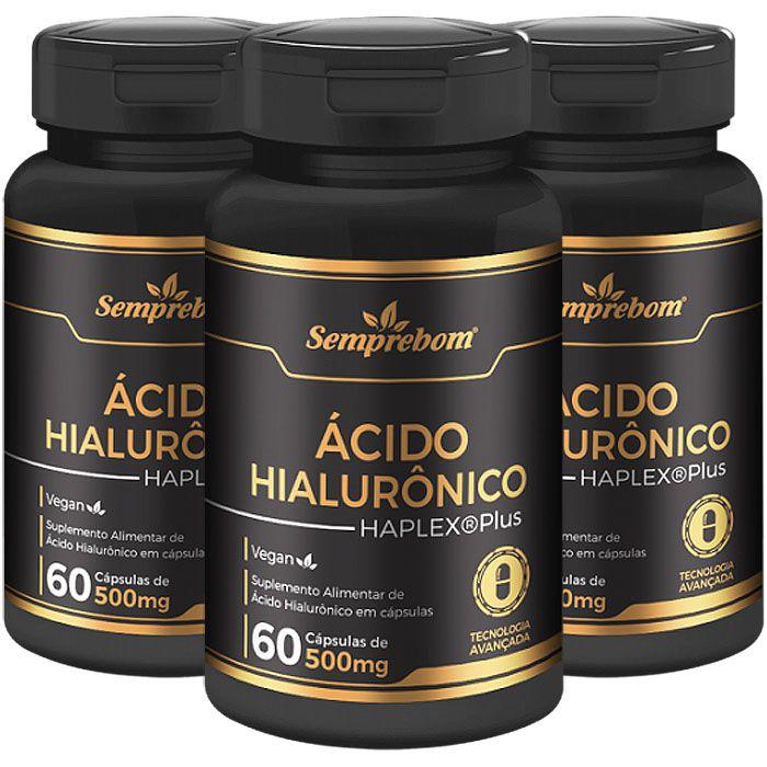 Ácido Hialurônico Haplex®Plus - 500mg - 03 Potes  - Natural Show - Produtos Naturais, Suplementos e Cosméticos