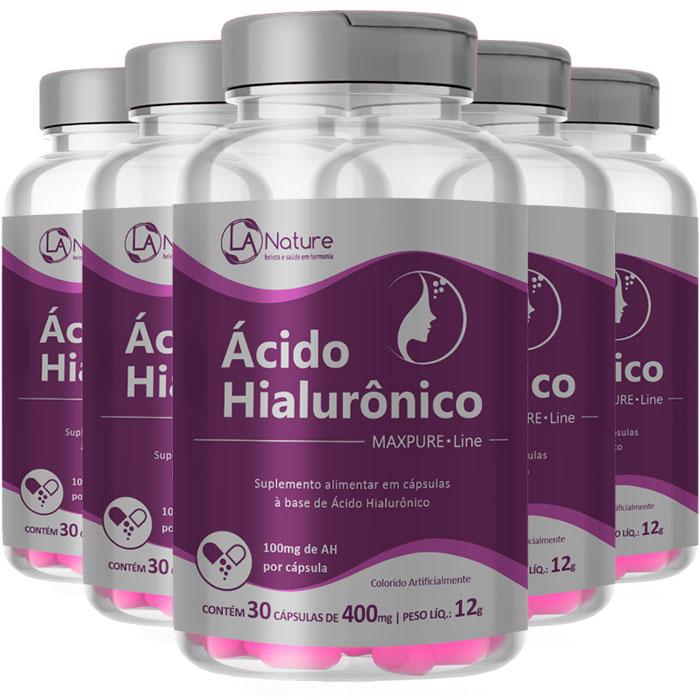 Ácido Hialurônico   MaxPure Line - 400mg (100mg de AH) - 05 Potes  - Natural Show - Produtos Naturais, Suplementos e Cosméticos