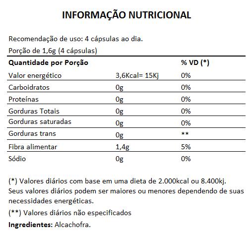 Alcachofra Original - 60 cápsulas de 400mg   - Natural Show - Produtos Naturais, Suplementos e Cosméticos