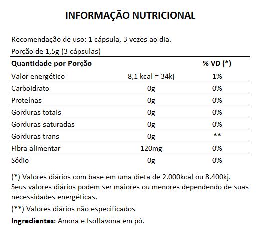 Amora com Isoflavona Original 500mg - 1 Pote (60 cápsulas)   - Natural Show - Produtos Naturais, Suplementos e Cosméticos