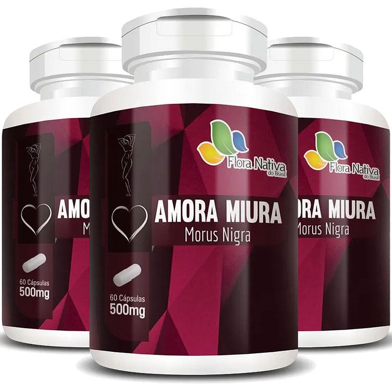 Amora Miura 500mg - A Legítima - 3 Potes (180 cáps.)