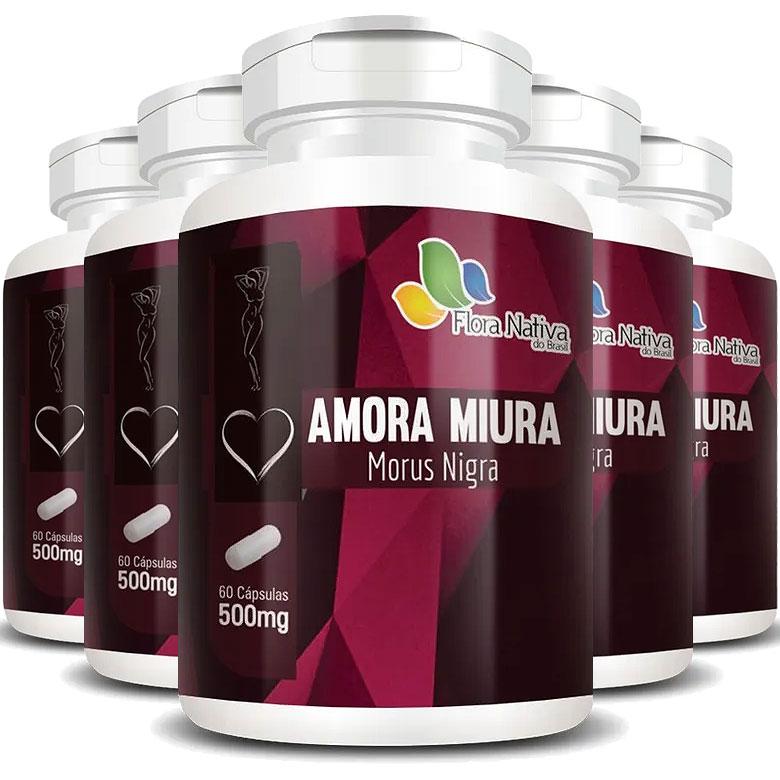 Amora Miura 500mg - A Legítima - 5 Potes com 60 cáps. (cada)