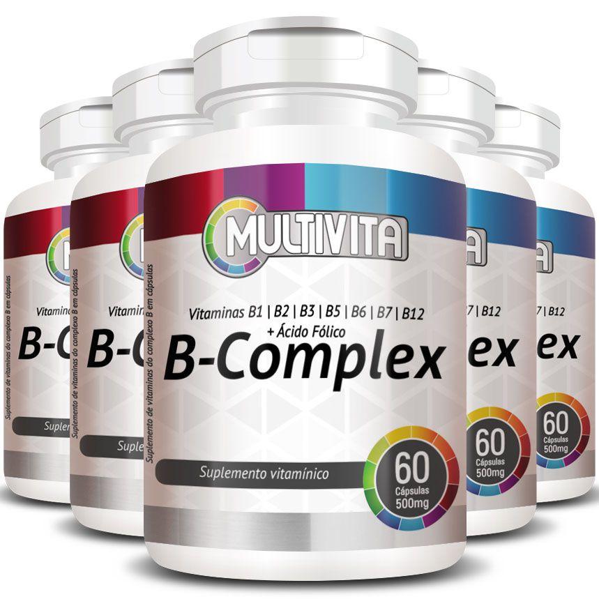 B-Complex (Complexo B)  500mg - 05 Potes  - Natural Show - Produtos Naturais, Suplementos e Cosméticos