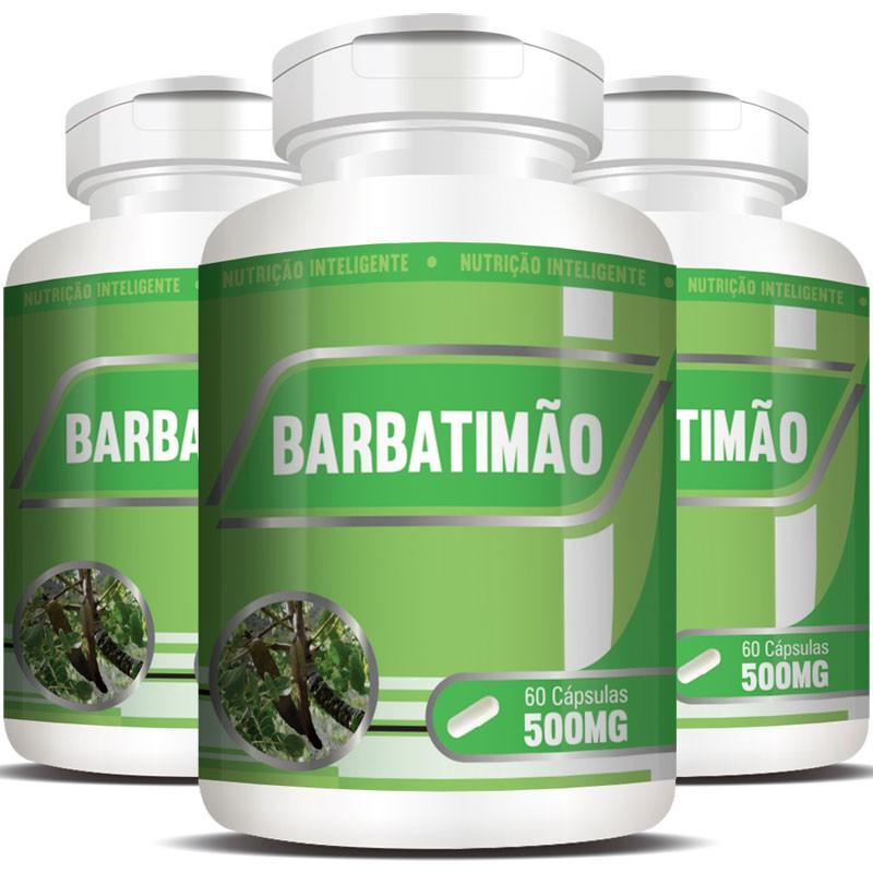 Barbatimão 500mg - 100% Puro - 03 Potes com 60 cápsulas