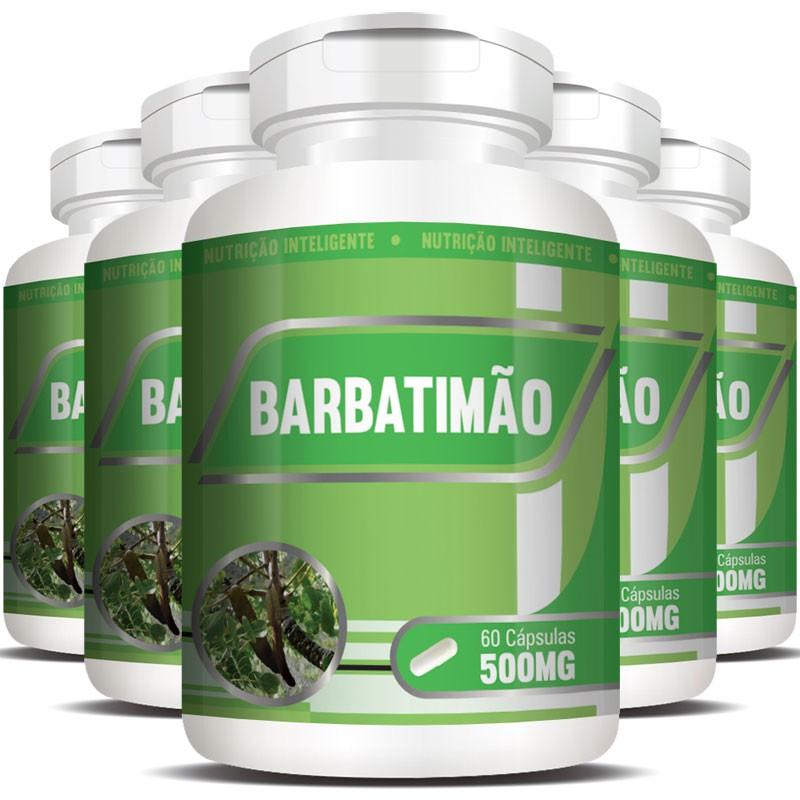 Barbatimão 500mg - 100% Puro - 5 Potes (300 cáps.)