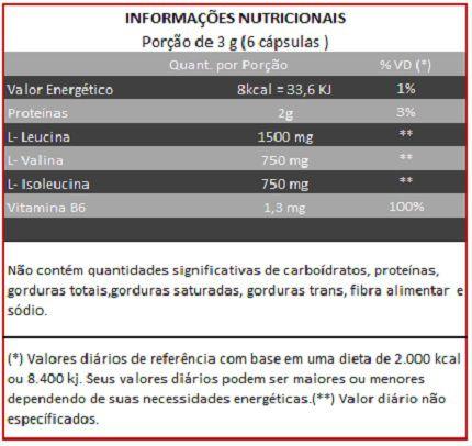 BCAA com Vitamina B6 - 120 cápsulas de 500mg  - Natural Show - Produtos Naturais, Suplementos e Cosméticos