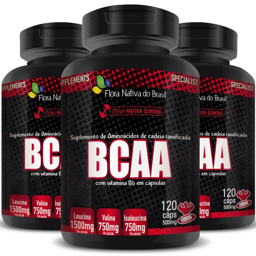 BCAA com Vitamina B6 (3000mg por Porção) 3 Potes - 360 cáps. de 500mg