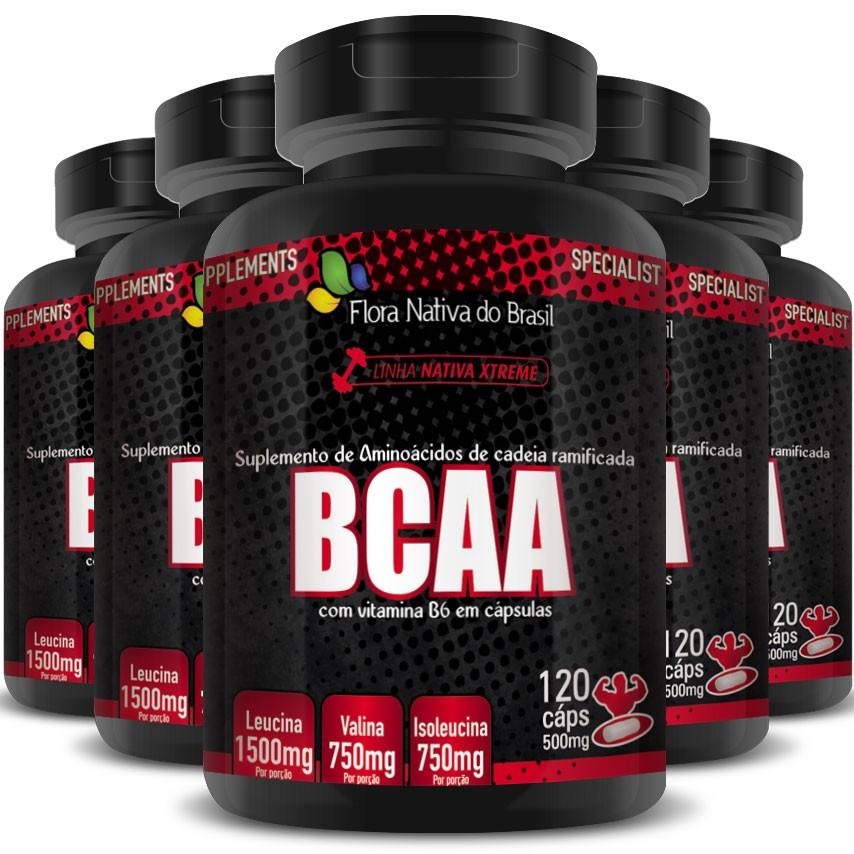 BCAA com Vitamina B6 (3000mg por Porção) 5 Potes - 600 cáps. de 500mg