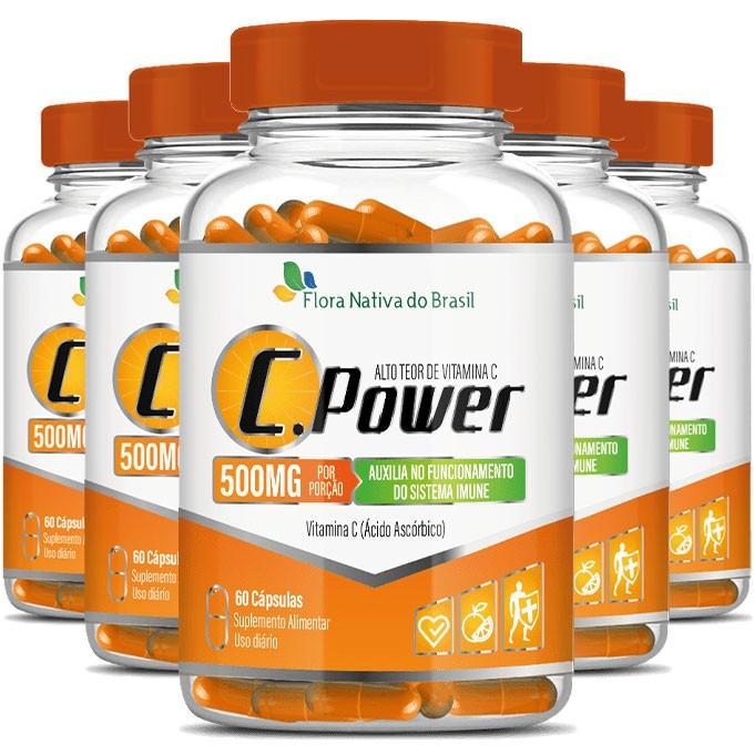 C.Power 500mg - Alto Teor de Vitamina C- 5 Potes com 60 cáps. (cada)