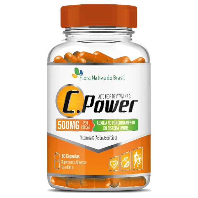 C.Power 500mg - Alto Teor de Vitamina C - 60 cápsulas
