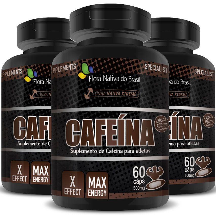 Cafeína em Cápsulas de 500mg - 03 Potes (180 cáps.)