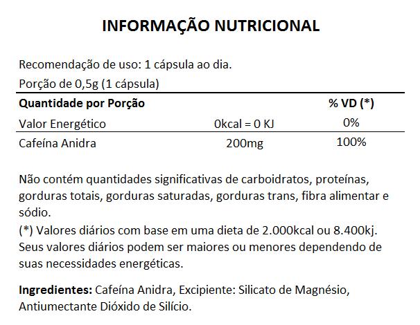 Cafeína em Cápsulas de 500mg - 05 Potes  - Natural Show - Produtos Naturais, Suplementos e Cosméticos