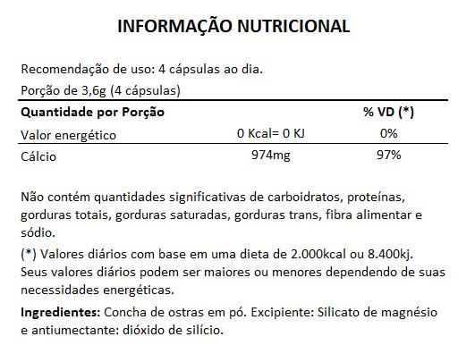 Cálcio de Ostras 900mg - 03 Potes com 60 cápsulas  - Natural Show - Produtos Naturais, Suplementos e Cosméticos