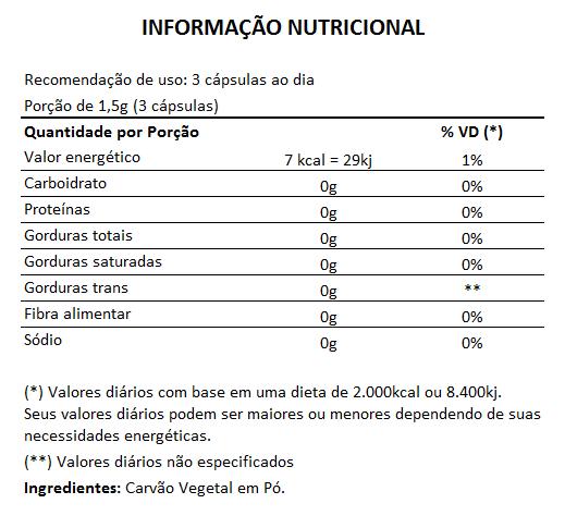 Carvão Vegetal 500mg - 100% Puro - 60 cápsulas  - Natural Show - Produtos Naturais, Suplementos e Cosméticos