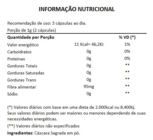 Cáscara Sagrada 100% Pura - 60 Cápsulas de 500mg  - Natural Show - Produtos Naturais, Suplementos e Cosméticos