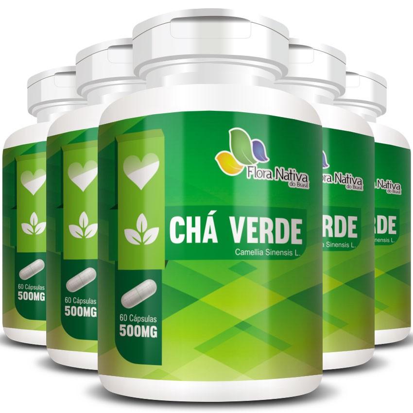 Chá Verde 500mg - 05 Potes com 60 cápsulas (cada)  - Natural Show - Produtos Naturais, Suplementos e Cosméticos