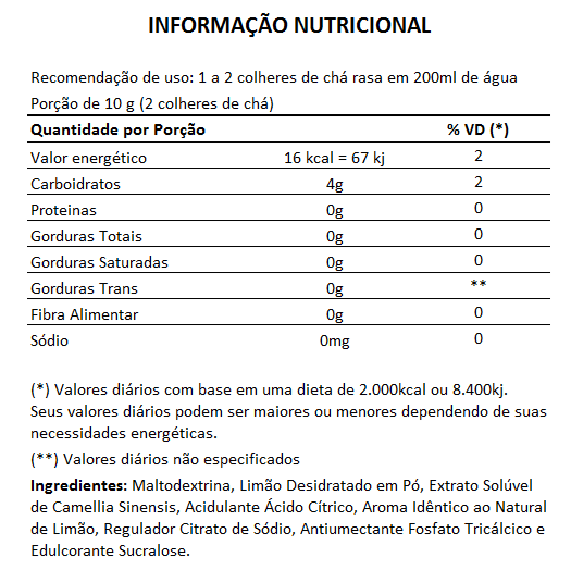 Chá Verde Instantâneo - 200g  - Natural Show - Produtos Naturais, Suplementos e Cosméticos