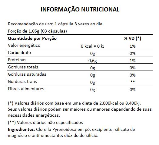 Clorela Original (Clorella) 500mg - 1 Pote com 60 cápsulas   - Natural Show - Produtos Naturais, Suplementos e Cosméticos