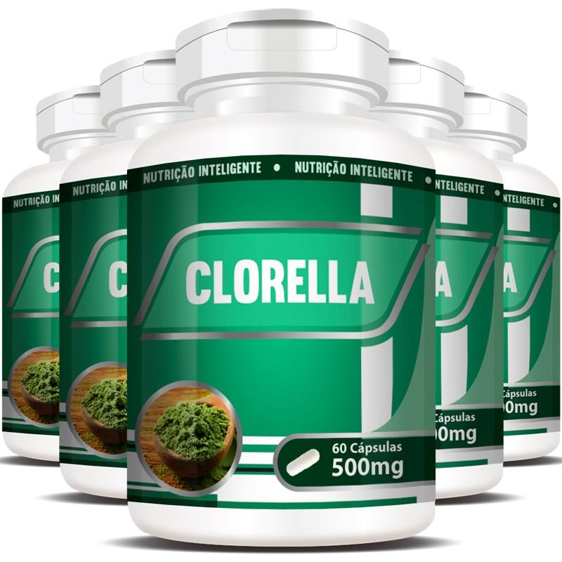 Clorela Original (Clorella) 500mg - Efeito Detox - 5 Potes (300 cáps.)
