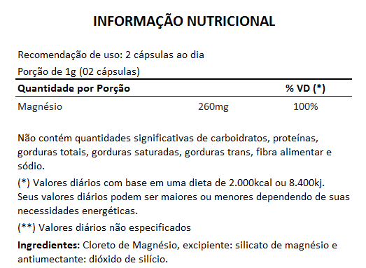Cloreto de Magnésio PA - 500mg - 05 Potes  - Natural Show - Produtos Naturais, Suplementos e Cosméticos