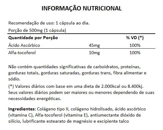Colágeno Tipo 2 - Ultra Concentrado - 30 cápsulas de 500mg  - Natural Show - Produtos Naturais, Suplementos e Cosméticos