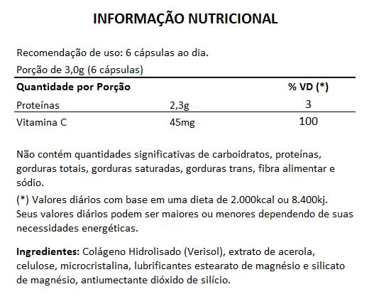 Colágeno Verisol + Vitamina C - 500mg - 5 Potes  - Natural Show - Produtos Naturais, Suplementos e Cosméticos