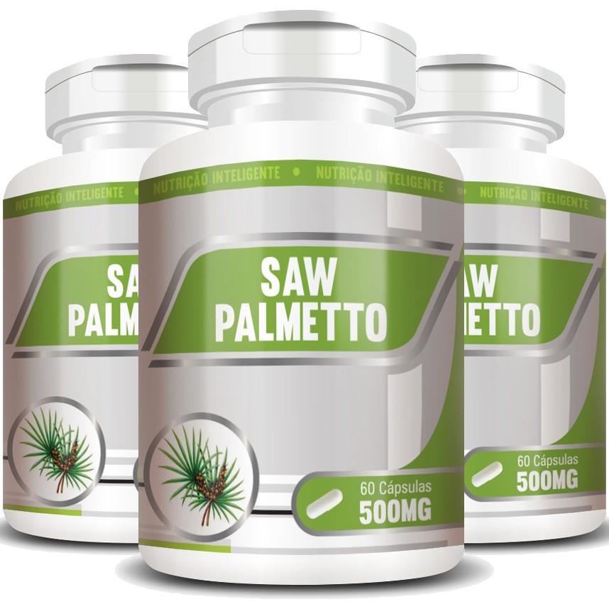 Saw Palmetto 500mg - 100% Puro - 03 Potes com 60 cápsulas
