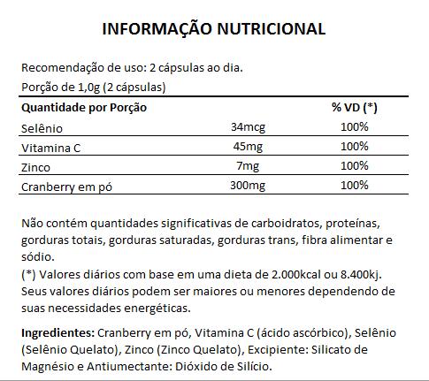 Cranberry + Vitamina C, Selênio e Zinco - 60 cápsulas de 500mg  - Natural Show - Produtos Naturais, Suplementos e Cosméticos