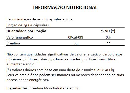 Creatina Monohidratada 100% Pura - 120 cápsulas de 500mg  - Natural Show - Produtos Naturais, Suplementos e Cosméticos