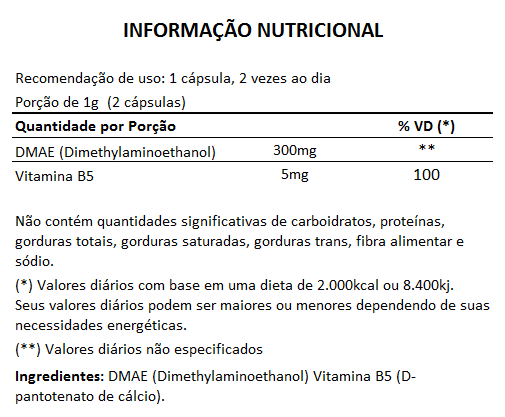 DMAE + Vitamina B5 - 60 cápsulas de 500mg  - Natural Show - Produtos Naturais, Suplementos e Cosméticos