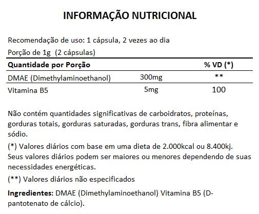 DMAE + Vitamina B5 - cápsulas de 500mg (05 Potes)  - Natural Show - Produtos Naturais, Suplementos e Cosméticos