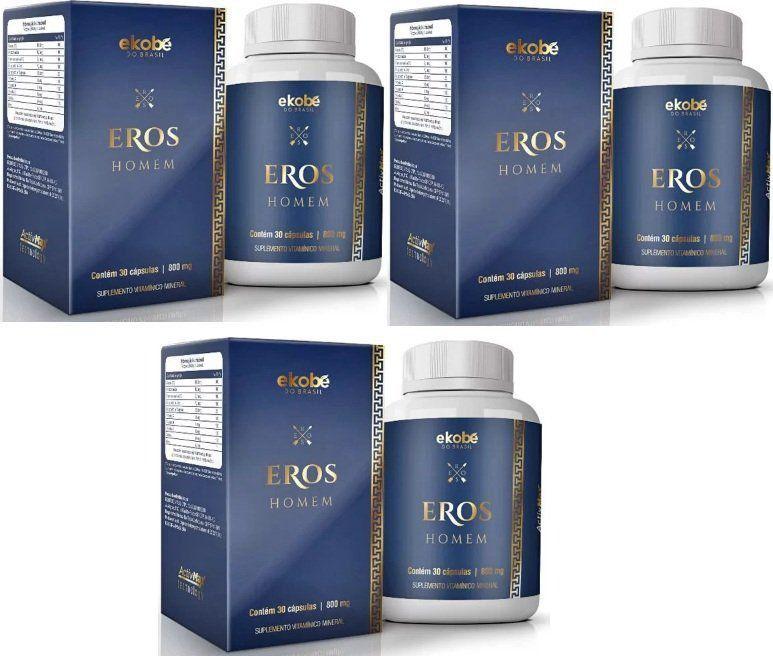 Eros Homem Original Estimulante Sexual Masculino - 3 Potes   - Natural Show - Produtos Naturais, Suplementos e Cosméticos