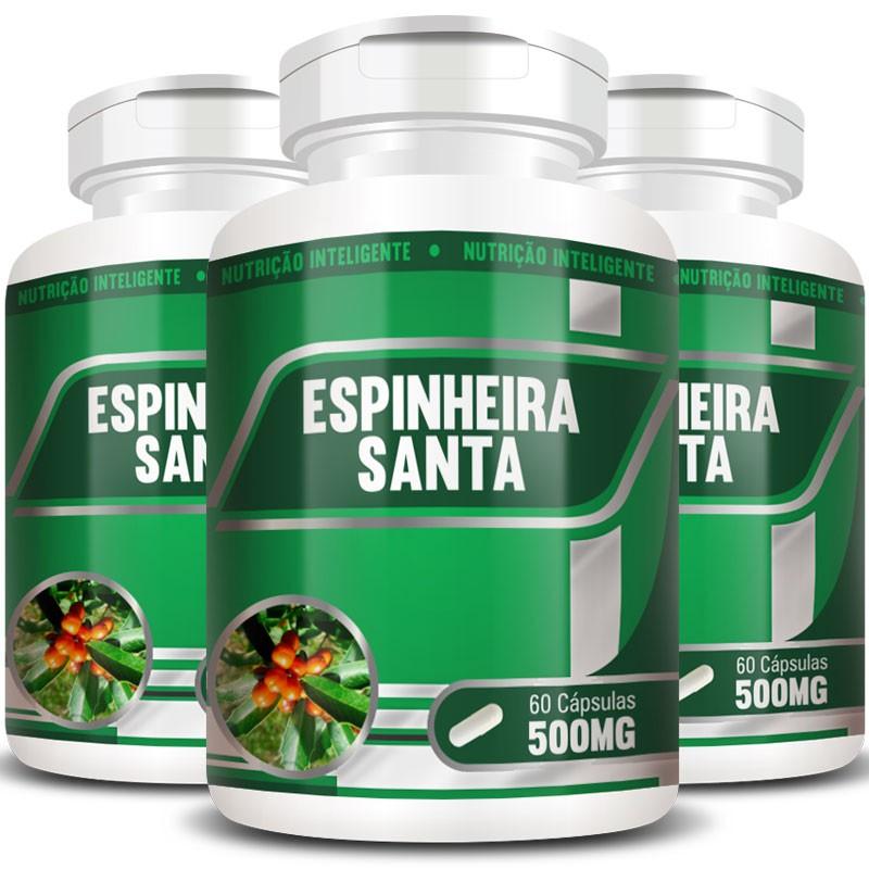 Espinheira Santa 500mg - 100% Pura - 3 Potes (180 cáps.)