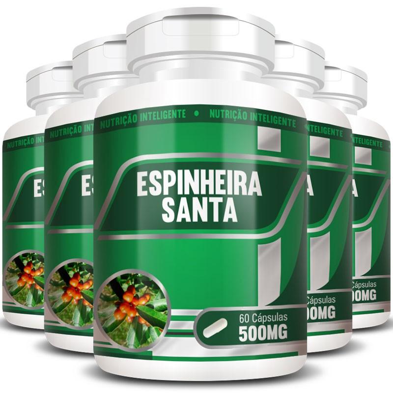Espinheira Santa 500mg - 100% Pura - 5 Potes (300 cáps.)