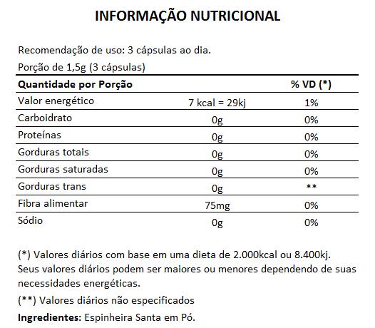 Espinheira Santa 500mg - 100% Pura - 60 cápsulas  - Natural Show - Produtos Naturais, Suplementos e Cosméticos