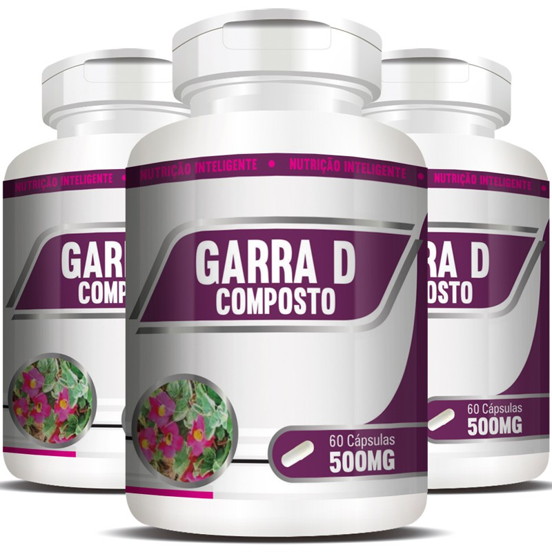 Garra D Composto 500mg - Garra do Diabo - 3 Potes (180 cáps.)
