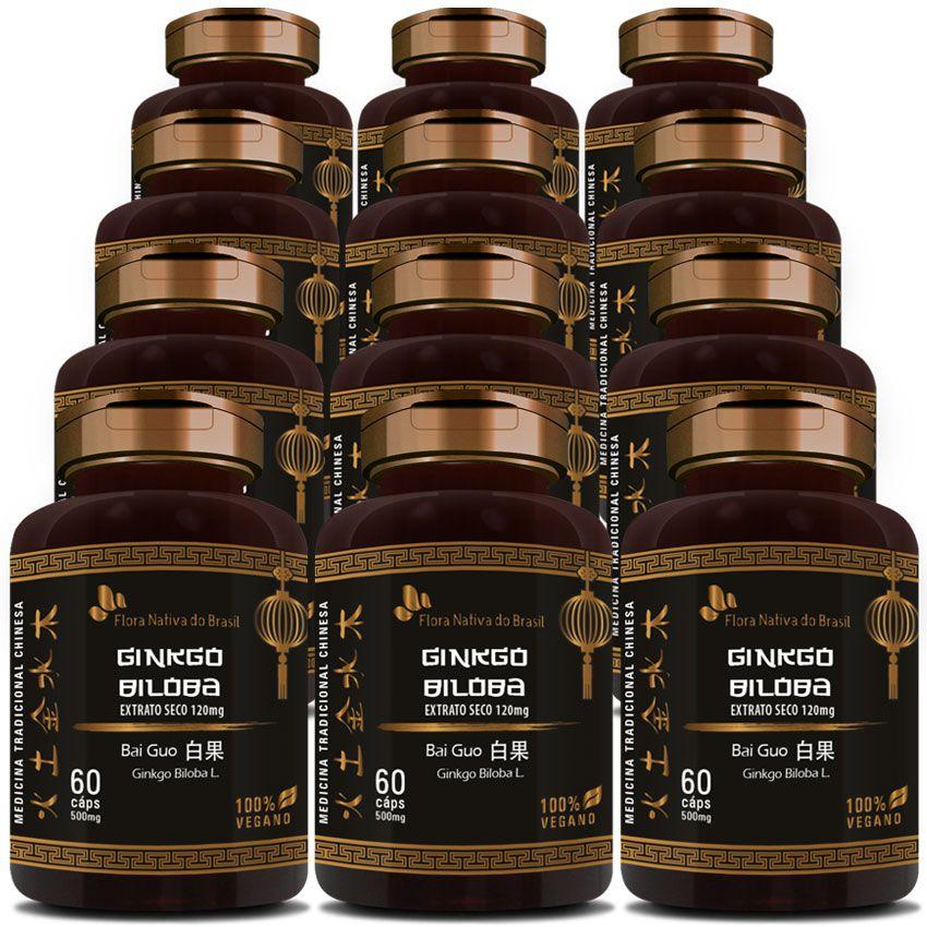 Ginkgo Biloba (Bai Guo) 100% Vegano - 12 Potes  - Natural Show - Produtos Naturais, Suplementos e Cosméticos