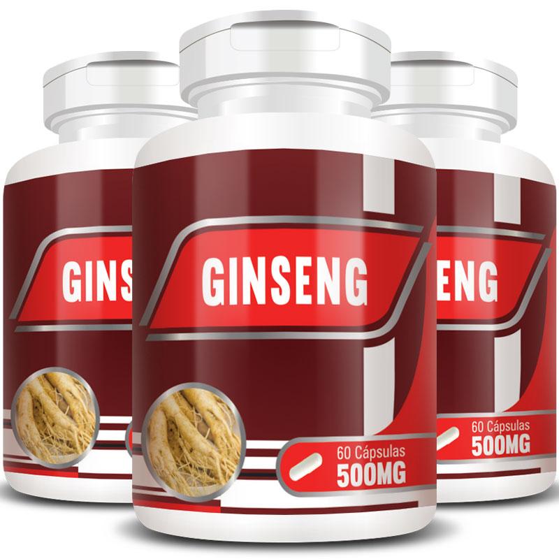 Ginseng 500mg - 100% Puro - 3 Potes (180 cáps.)